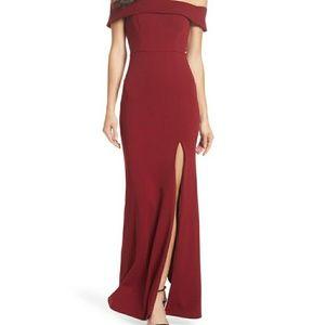 Lulus off shoulder mermaid style dress - Burgundy
